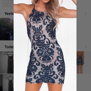 Xenia Boutique Dresses - Navy blue and tan open back bodycon dress